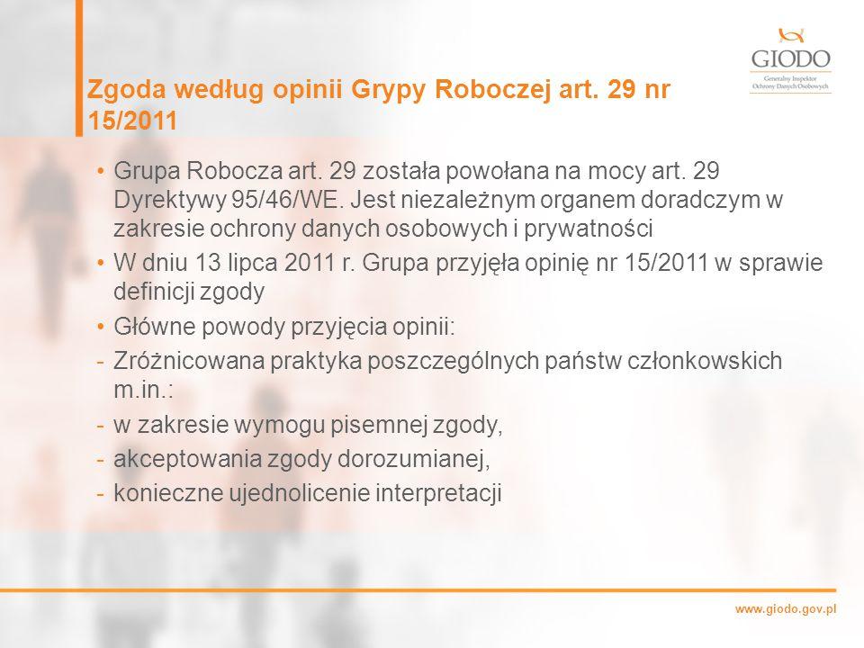 Zgoda według opinii Grypy Roboczej art. 29 nr 15/2011