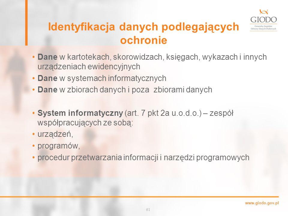 Identyfikacja danych podlegających ochronie