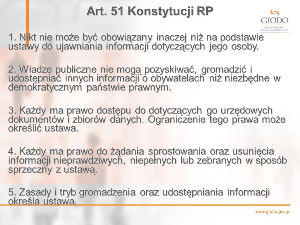 Art. 51 Konstytucji RP 1. Nikt nie może być obowiązany inaczej niż na podstawie ustawy do ujawniania informacji dotyczących jego osoby.