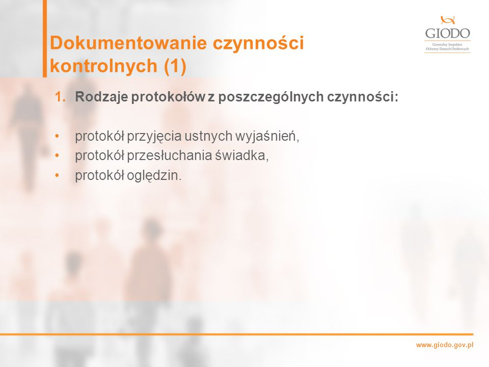 Dokumentowanie czynności kontrolnych (1)