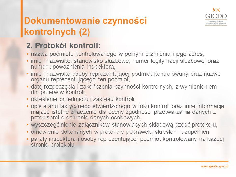 Dokumentowanie czynności kontrolnych (2)
