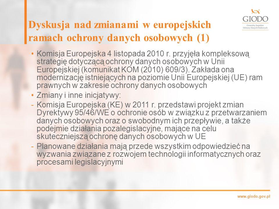 Dyskusja nad zmianami w europejskich ramach ochrony danych osobowych (1)