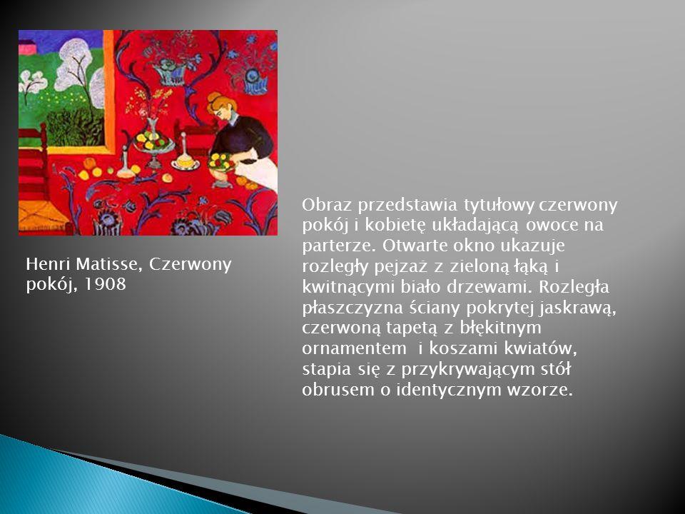 Obraz przedstawia tytułowy czerwony pokój i kobietę układającą owoce na parterze. Otwarte okno ukazuje rozległy pejzaż z zieloną łąką i kwitnącymi biało drzewami. Rozległa płaszczyzna ściany pokrytej jaskrawą, czerwoną tapetą z błękitnym ornamentem i koszami kwiatów, stapia się z przykrywającym stół obrusem o identycznym wzorze.