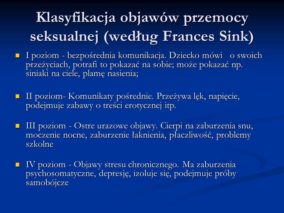 Klasyfikacja objawów przemocy seksualnej (według Frances Sink)