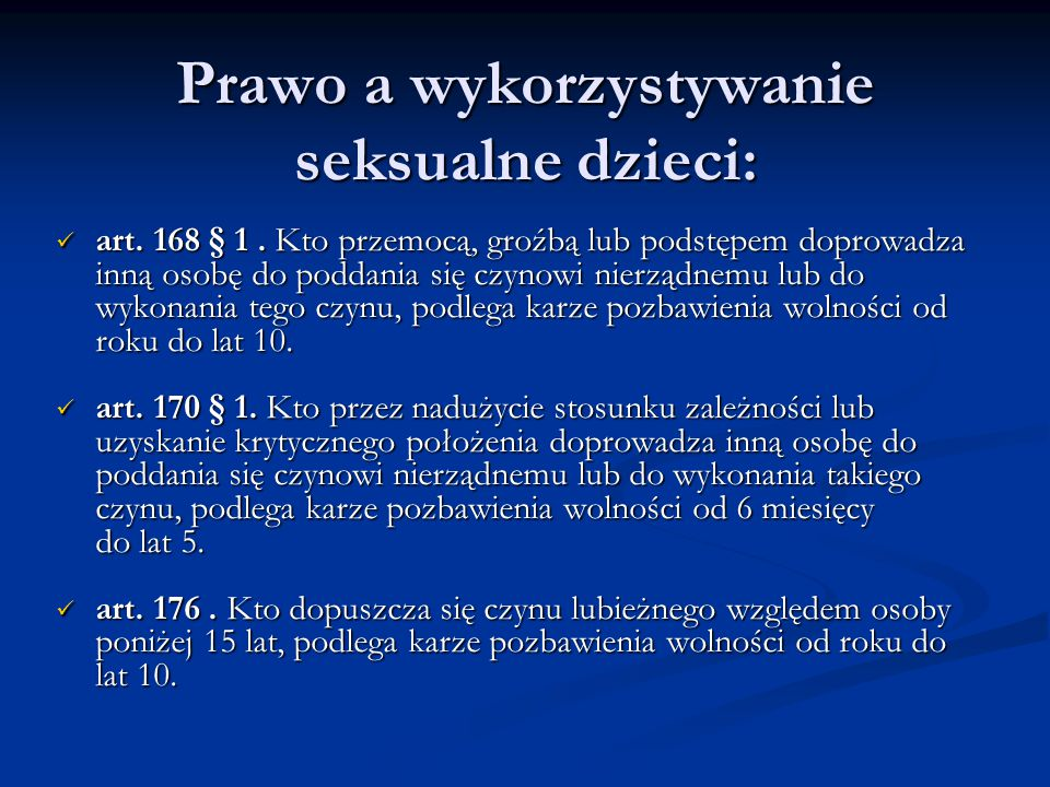 Prawo a wykorzystywanie seksualne dzieci: