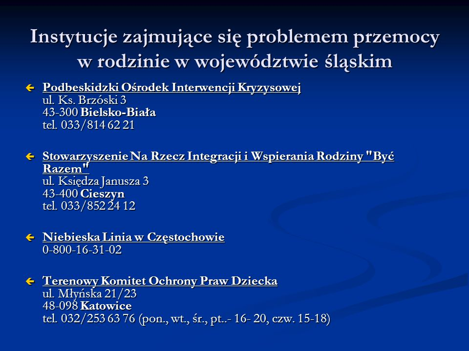 Instytucje zajmujące się problemem przemocy w rodzinie w województwie śląskim