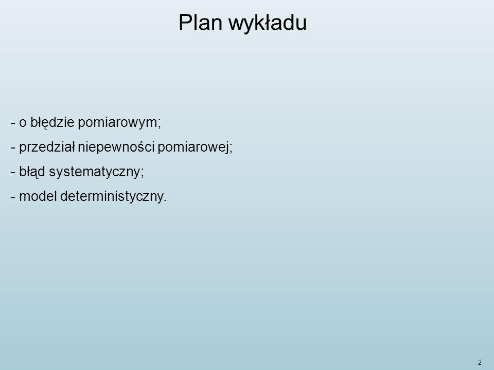 Plan wykładu o błędzie pomiarowym; przedział niepewności pomiarowej;