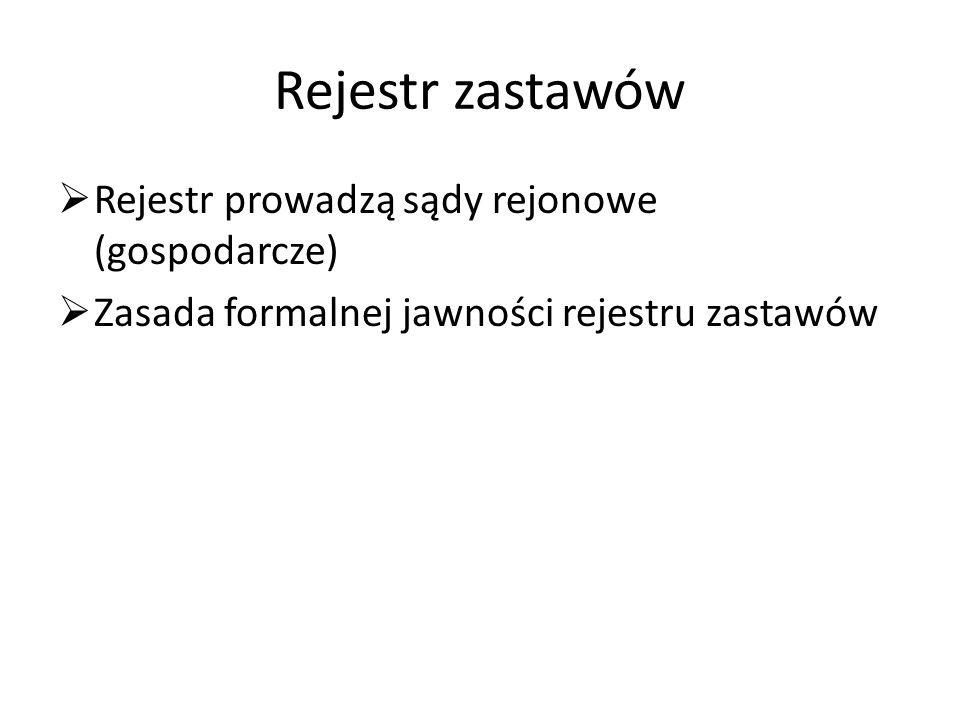 Rejestr zastawów Rejestr prowadzą sądy rejonowe (gospodarcze)