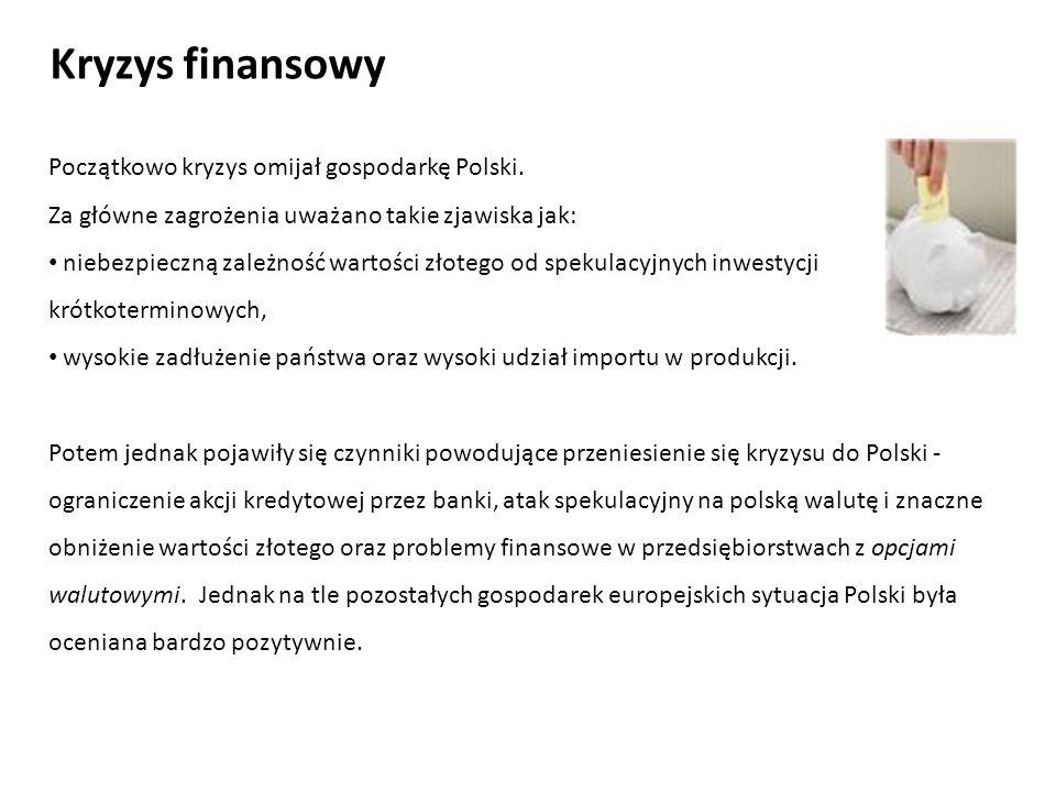 Kryzys finansowy Początkowo kryzys omijał gospodarkę Polski.