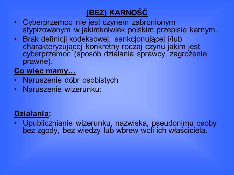 (BEZ) KARNOŚĆ Cyberprzemoc nie jest czynem zabronionym stypizowanym w jakimkolwiek polskim przepisie karnym.