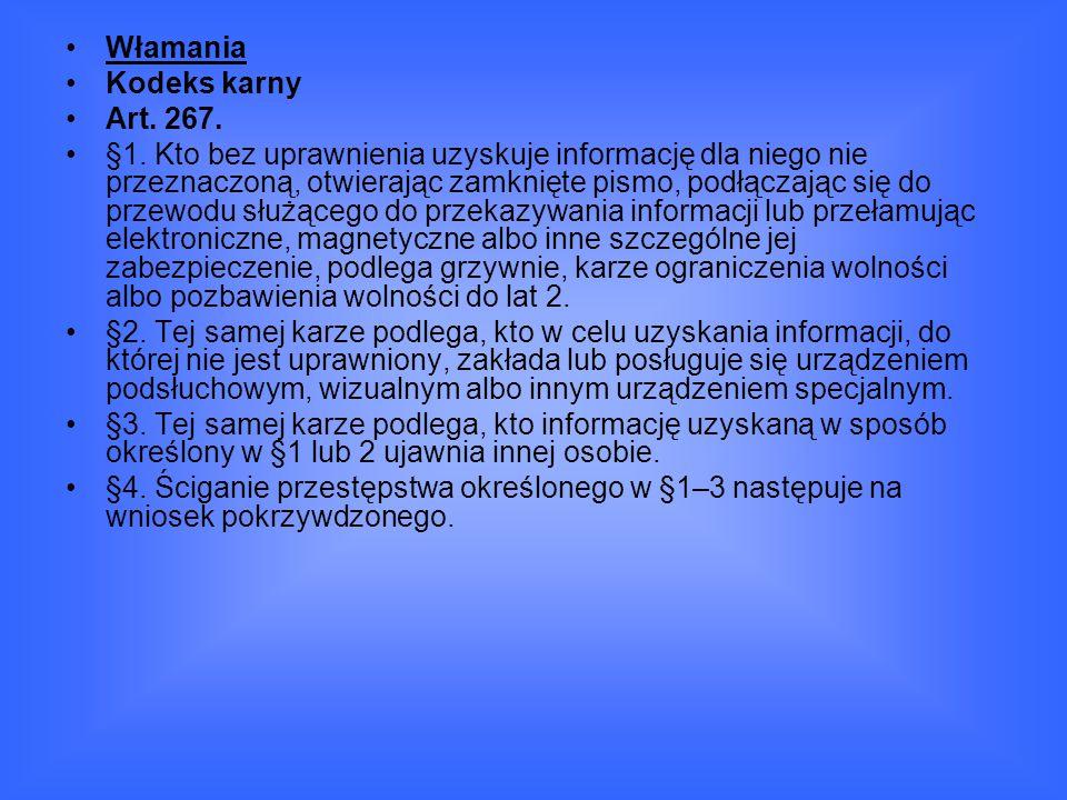 Włamania Kodeks karny. Art. 267.
