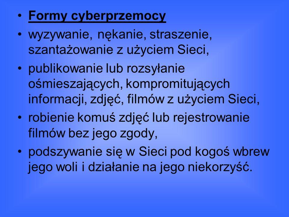 Formy cyberprzemocy wyzywanie, nękanie, straszenie, szantażowanie z użyciem Sieci,