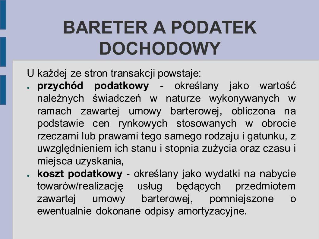 BARETER A PODATEK DOCHODOWY