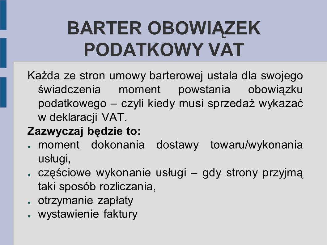 BARTER OBOWIĄZEK PODATKOWY VAT