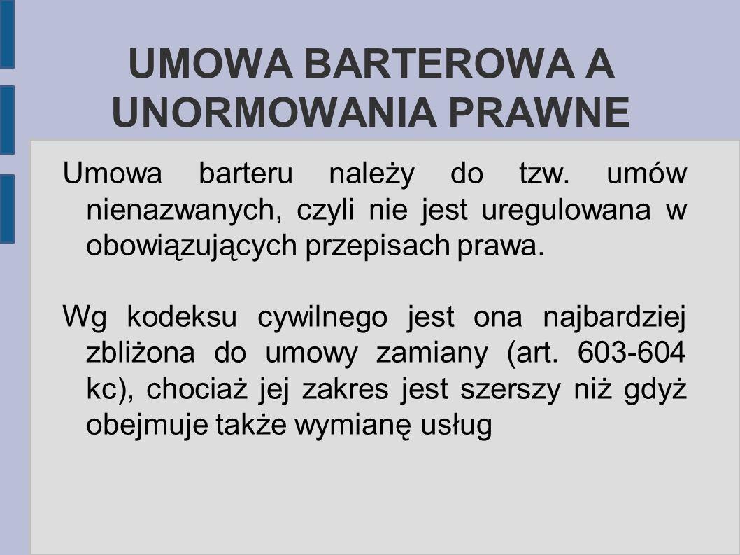 UMOWA BARTEROWA A UNORMOWANIA PRAWNE