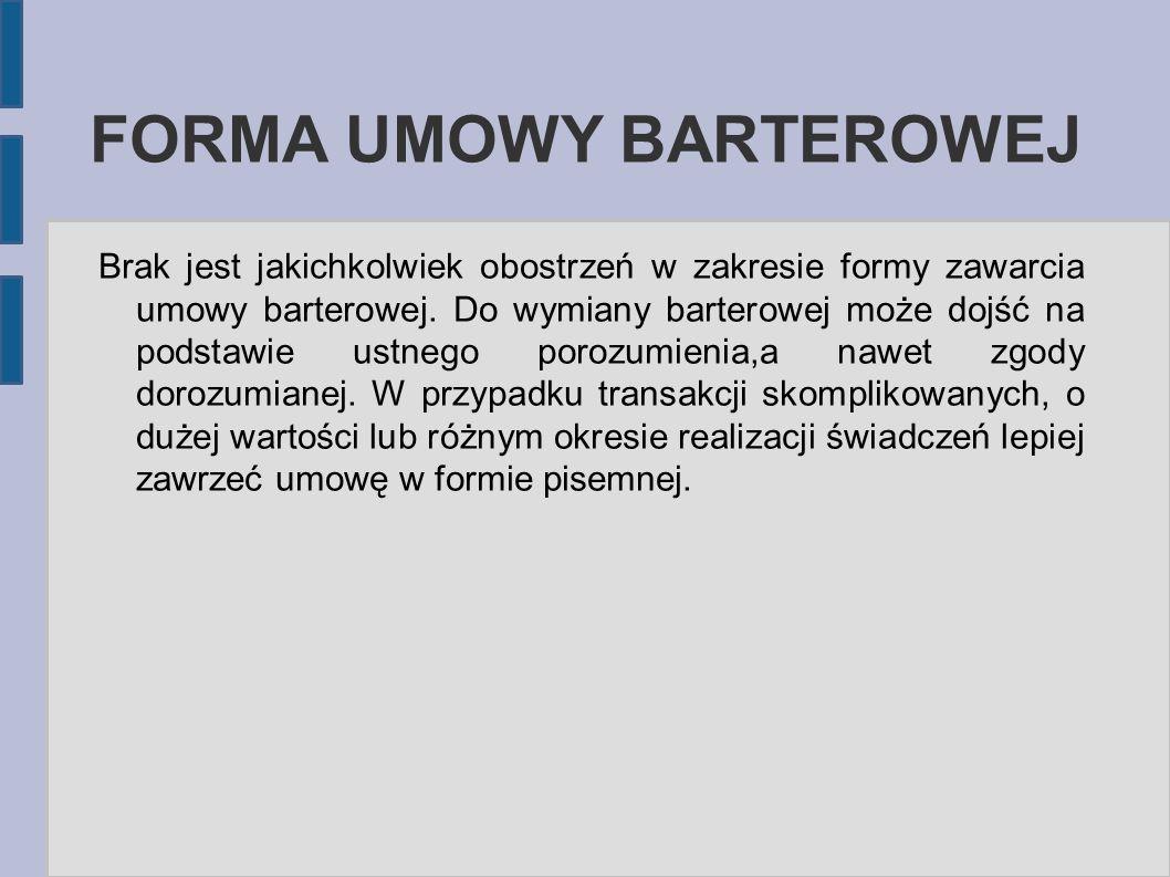 FORMA UMOWY BARTEROWEJ
