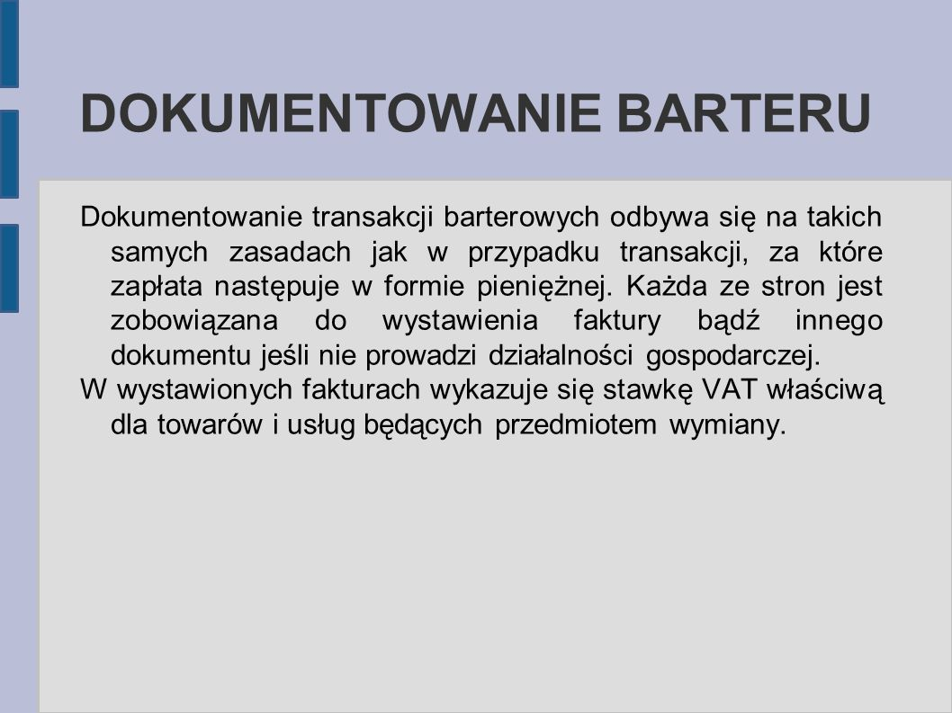 DOKUMENTOWANIE BARTERU