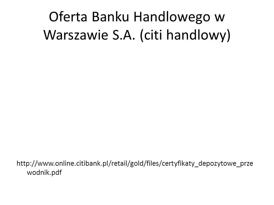 Oferta Banku Handlowego w Warszawie S.A. (citi handlowy)