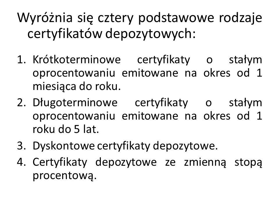 Wyróżnia się cztery podstawowe rodzaje certyfikatów depozytowych: