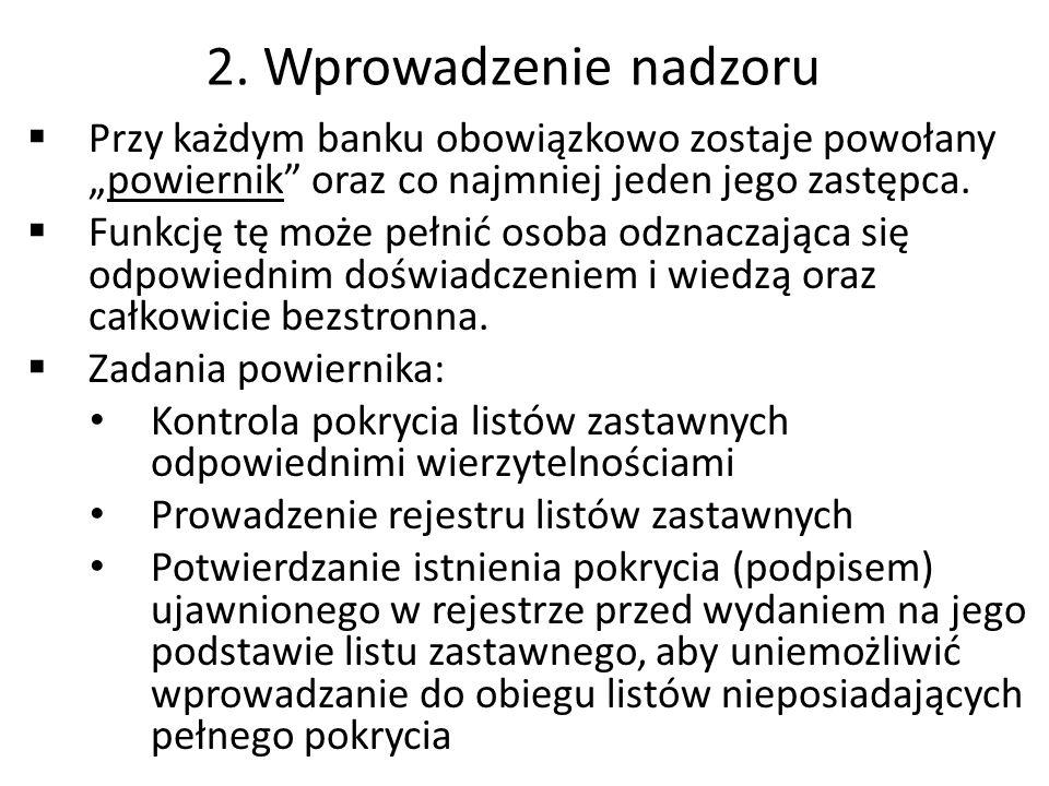 """2. Wprowadzenie nadzoru Przy każdym banku obowiązkowo zostaje powołany """"powiernik oraz co najmniej jeden jego zastępca."""