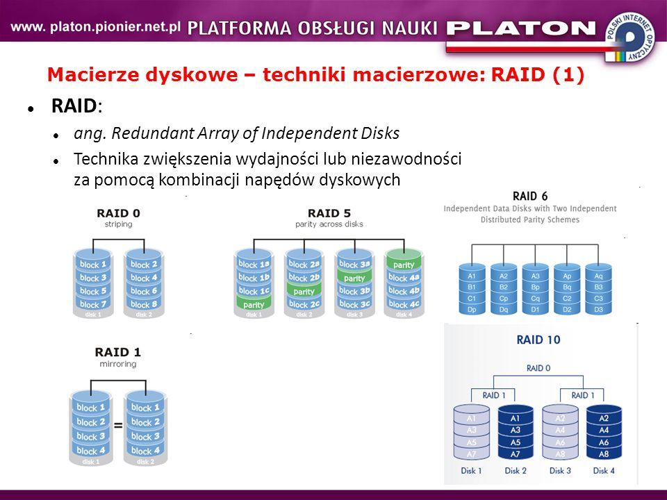 Macierze dyskowe – techniki macierzowe: RAID (1)