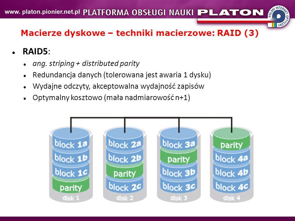 Macierze dyskowe – techniki macierzowe: RAID (3)
