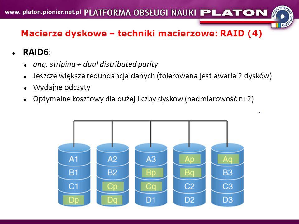 Macierze dyskowe – techniki macierzowe: RAID (4)
