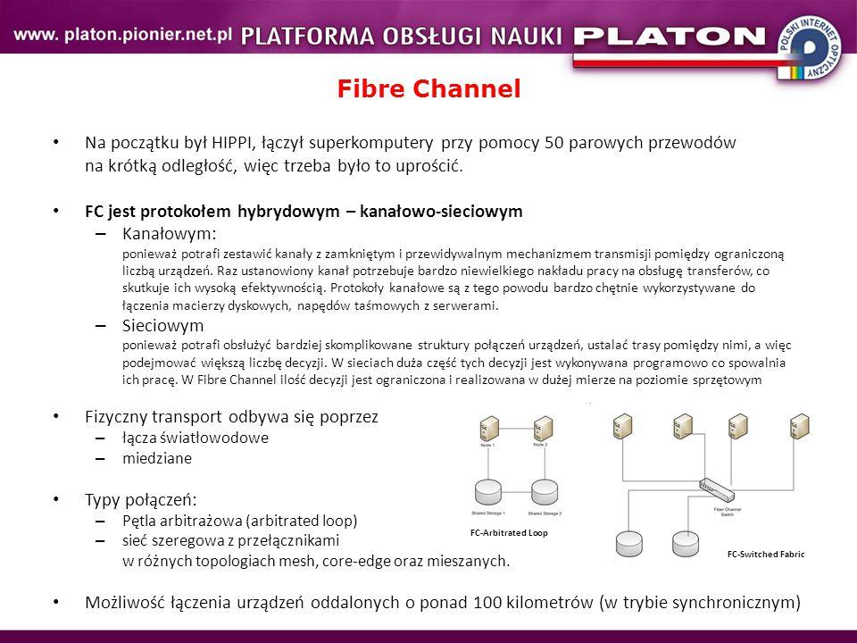 Fibre Channel Na początku był HIPPI, łączył superkomputery przy pomocy 50 parowych przewodów na krótką odległość, więc trzeba było to uprościć.