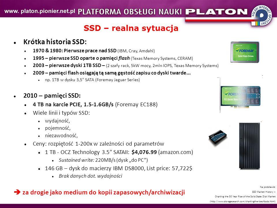 SSD – realna sytuacja Krótka historia SSD: 2010 – pamięci SSD:
