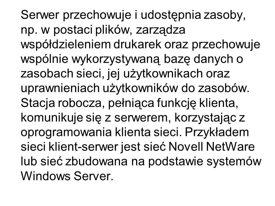 Serwer przechowuje i udostępnia zasoby, np