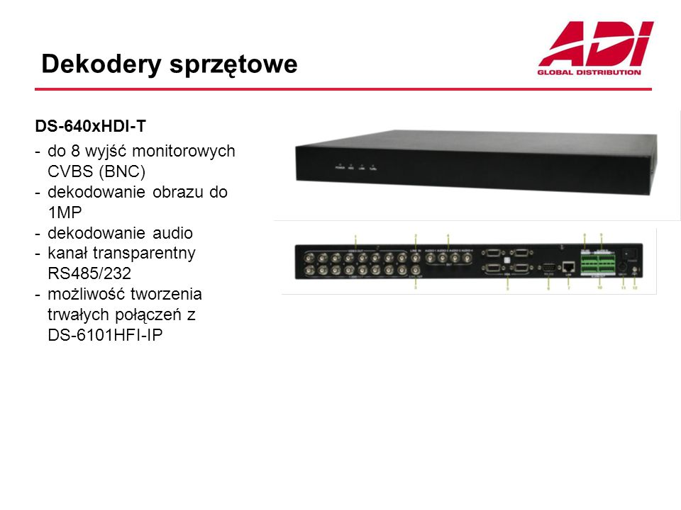 Dekodery sprzętowe DS-640xHDI-T do 8 wyjść monitorowych CVBS (BNC)