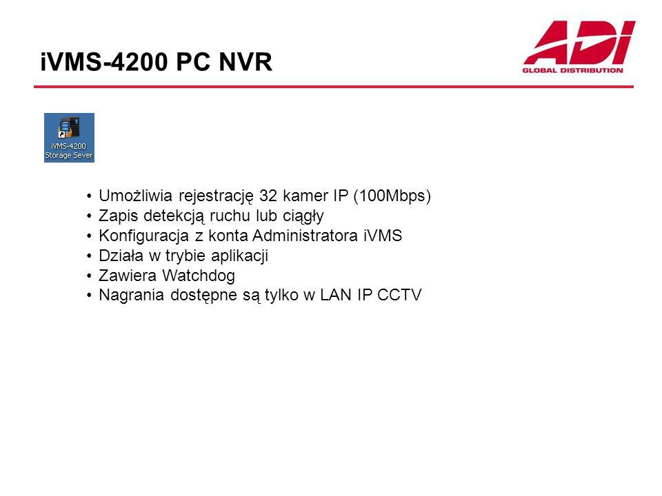 iVMS-4200 PC NVR Umożliwia rejestrację 32 kamer IP (100Mbps)