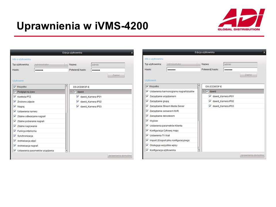 Uprawnienia w iVMS-4200