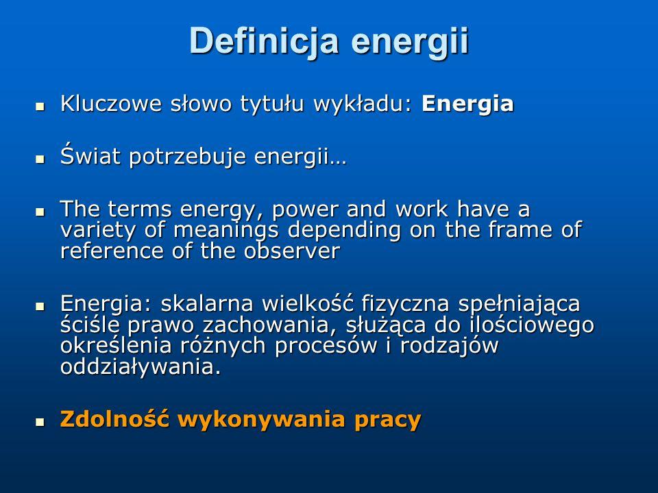 Definicja energii Kluczowe słowo tytułu wykładu: Energia