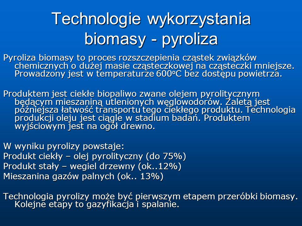 Technologie wykorzystania biomasy - pyroliza