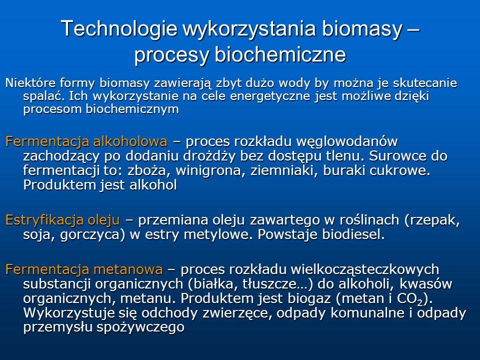 Technologie wykorzystania biomasy – procesy biochemiczne