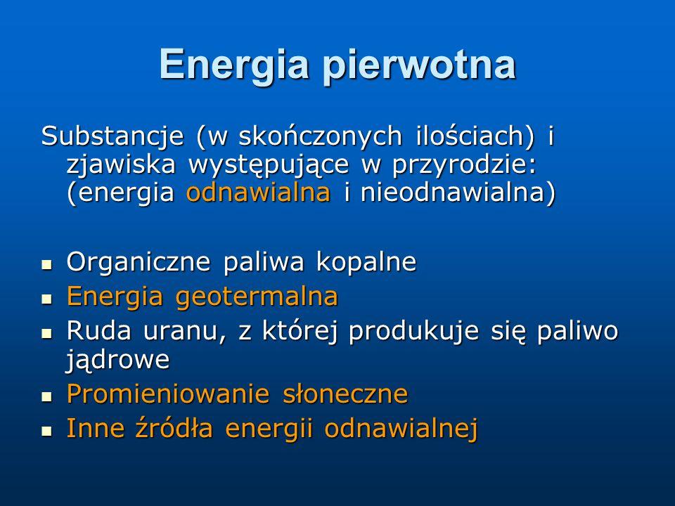 Energia pierwotna Substancje (w skończonych ilościach) i zjawiska występujące w przyrodzie: (energia odnawialna i nieodnawialna)