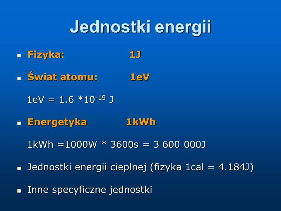 Jednostki energii Fizyka: 1J Świat atomu: 1eV 1eV = 1.6 *10-19 J