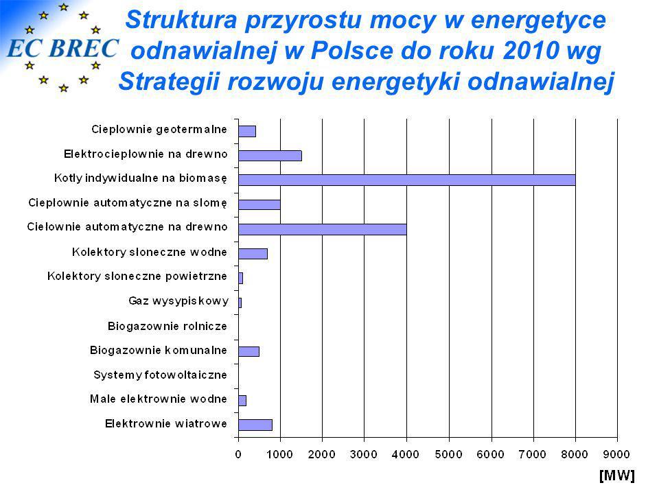 Struktura przyrostu mocy w energetyce odnawialnej w Polsce do roku 2010 wg Strategii rozwoju energetyki odnawialnej
