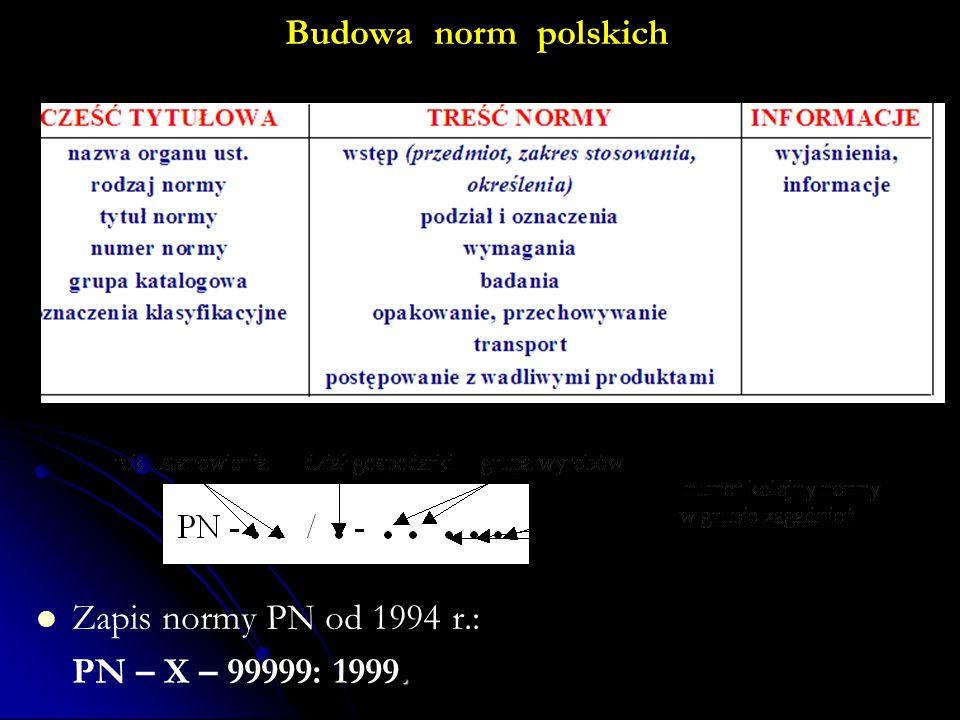 Budowa norm polskich Zapis normy PN od 1994 r.: PN – X – 99999: 1999.