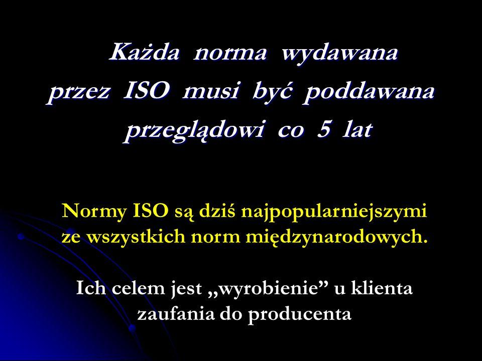 przez ISO musi być poddawana przeglądowi co 5 lat