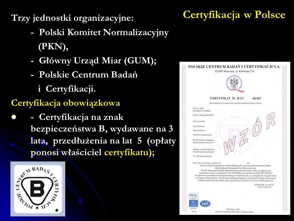 Certyfikacja w Polsce Trzy jednostki organizacyjne: