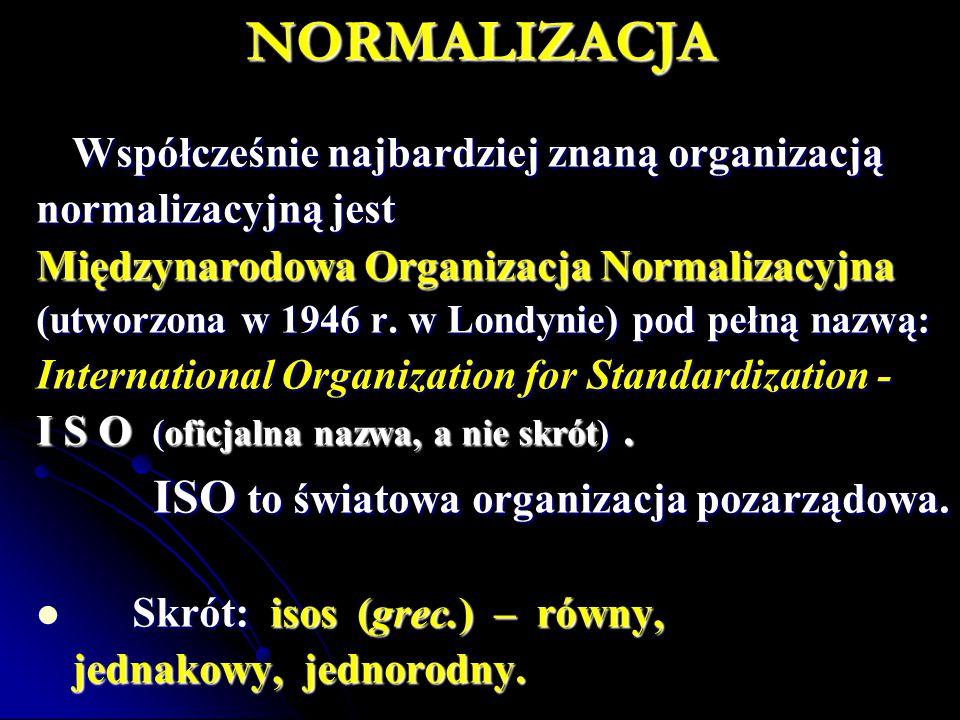 NORMALIZACJA Współcześnie najbardziej znaną organizacją