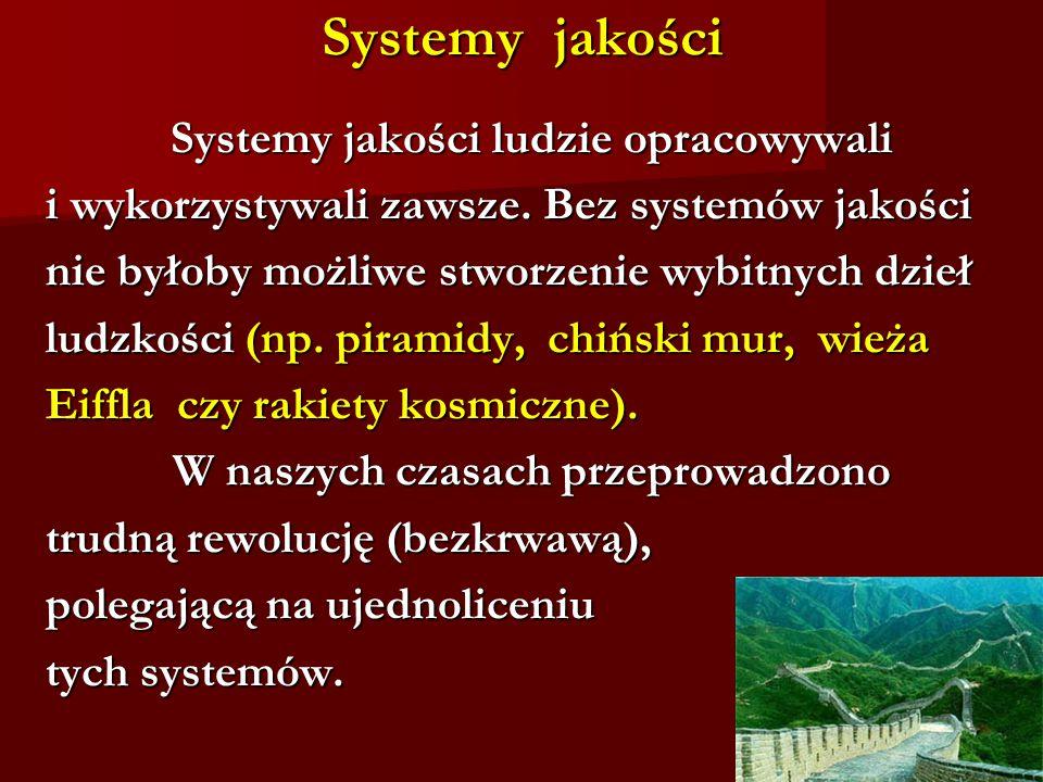 Systemy jakości Systemy jakości ludzie opracowywali