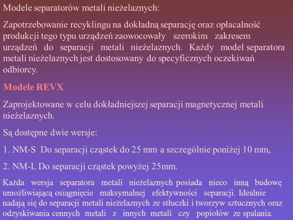 Modele REVX Modele separatorów metali nieżelaznych: