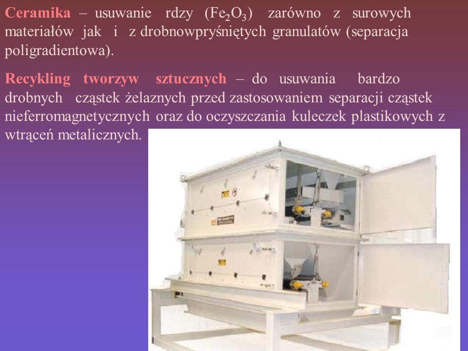 Ceramika – usuwanie rdzy (Fe2O3) zarówno z surowych materiałów jak i z drobnowpryśniętych granulatów (separacja poligradientowa).