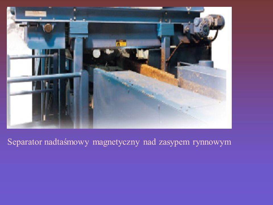 Separator nadtaśmowy magnetyczny nad zasypem rynnowym