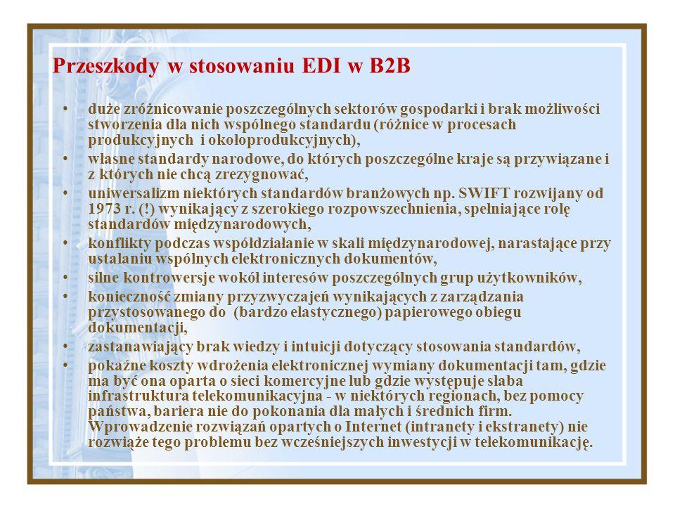 Przeszkody w stosowaniu EDI w B2B