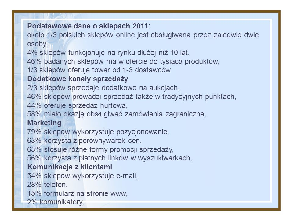 Podstawowe dane o sklepach 2011: