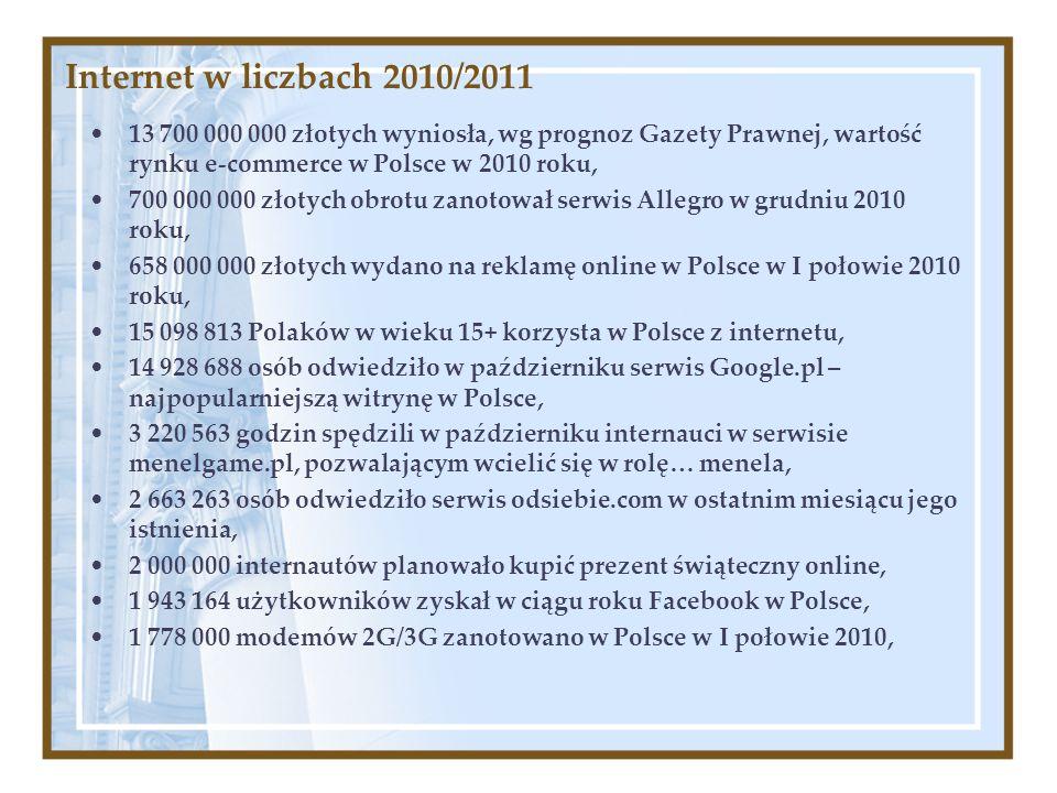 Internet w liczbach 2010/2011 13 700 000 000 złotych wyniosła, wg prognoz Gazety Prawnej, wartość rynku e-commerce w Polsce w 2010 roku,